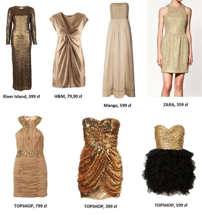 złote sukienki na studniówkę