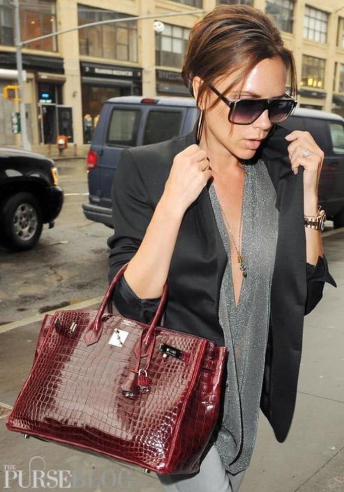 Victoria Beckham z torebką Hermes