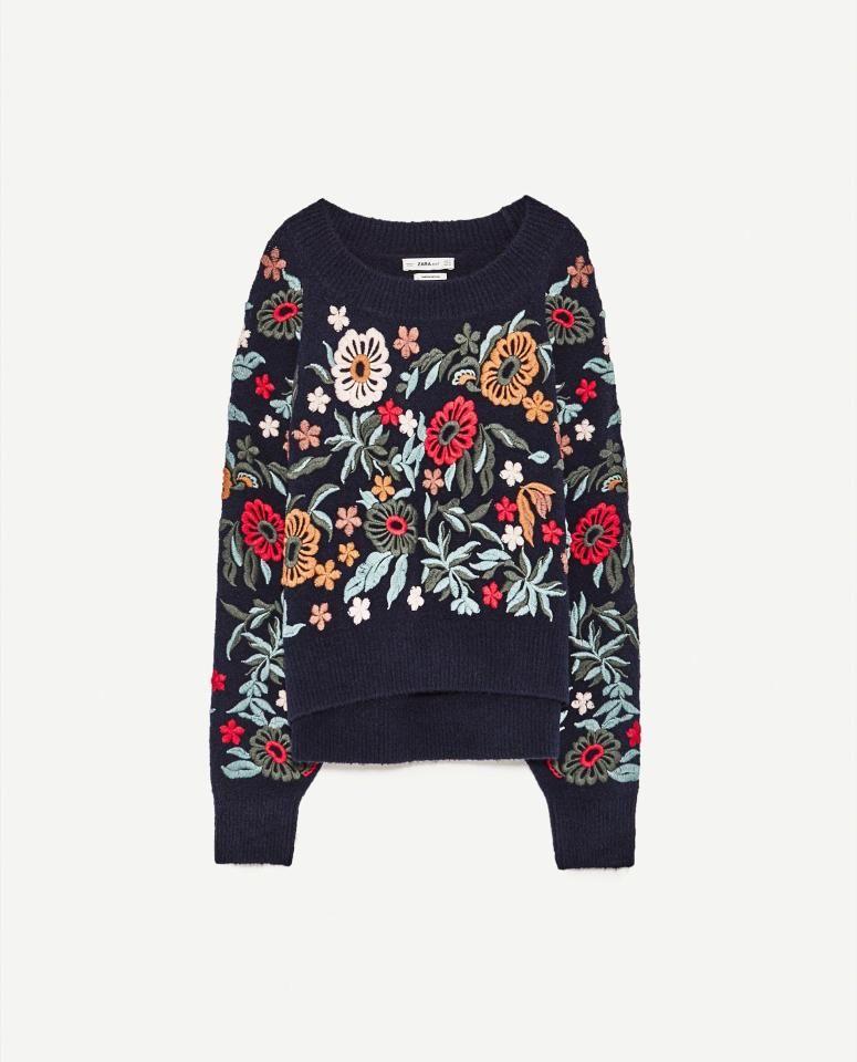 sweter z haftem zara