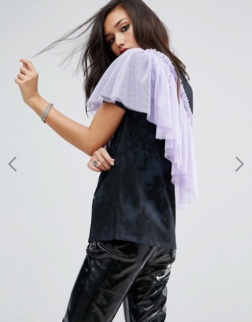 ASOS T-Shirt with Washed Band Print and Exaggerated Ruffle