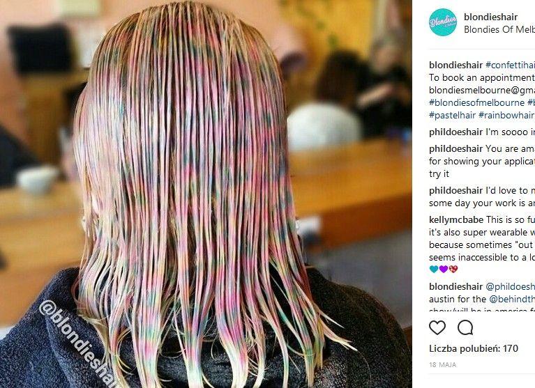 efekt konfetti na włosach