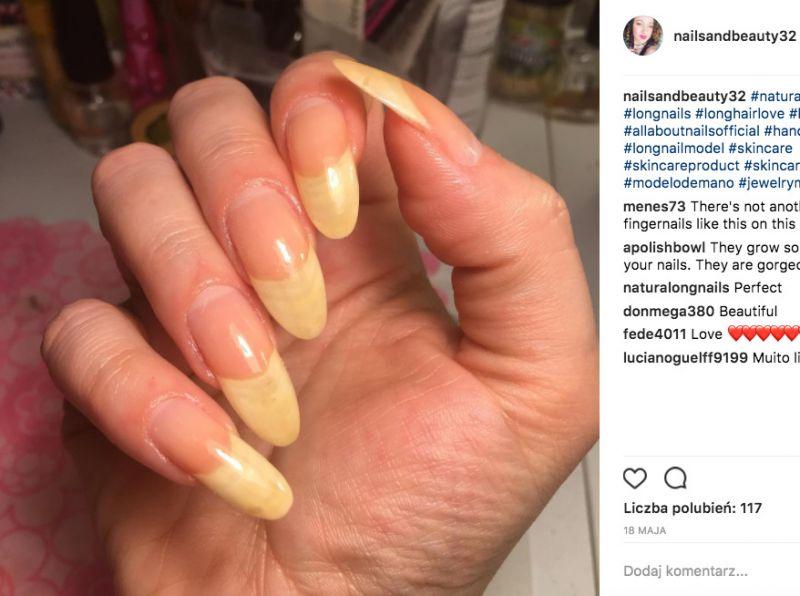 Długie paznokcie bez lakieru