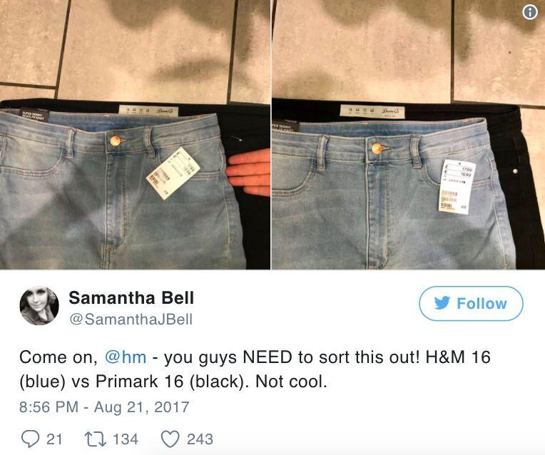 rozmiarówka ubrań