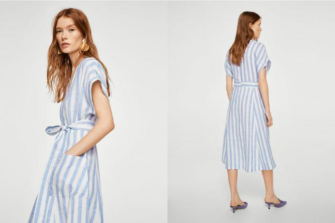 5c0dcce708 Błękitno-biała lniana sukienka w paski oryginalnie kosztowała 199
