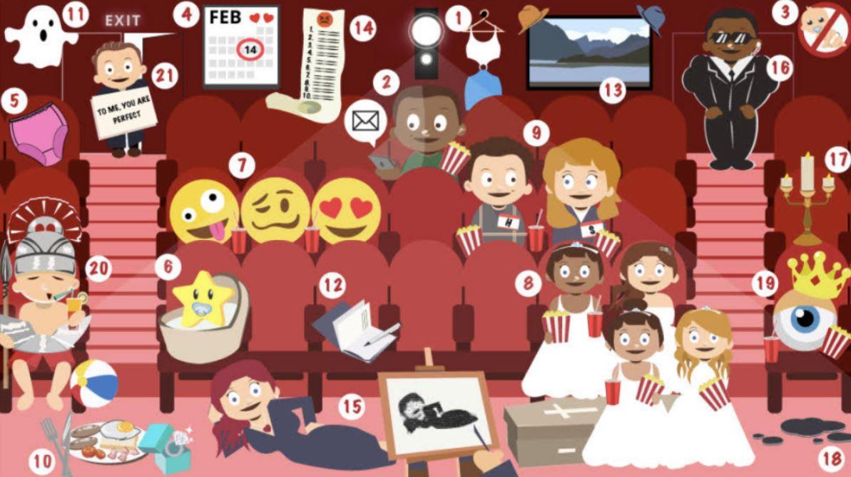 Tytuły komedii romantycznych ukryte na obrazku