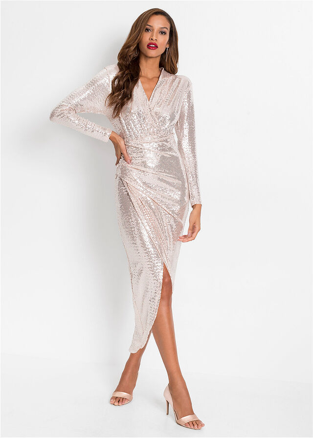 biała sukienka cekinowa